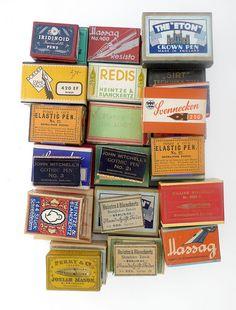 Vintage pen nib boxes. Love love loving the unique vintage designs!