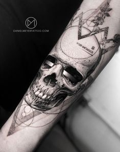Human skull dot work tattoo with abstract geometric flower crown to symbolize beauty and decay. Tattooed by Daniel Meyer in Los Angeles California. Work Material used: Great Tattoos, Body Art Tattoos, New Tattoos, Tattoo Drawings, Western Tattoos, Native Tattoos, Heart Lock Tattoo, Tarot Tattoo, Tattoo Process