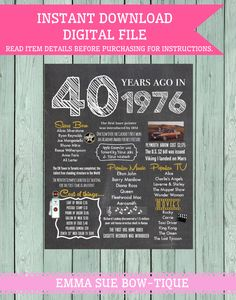 1976: 40 Years Ago Chalkboard Sign Digital File *****INSTANT DOWNLOAD**** by EmmaSueBowtique on Etsy