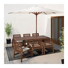 IKEA - ÄPPLARÖ, Table+6 armchairs, outdoor, Äpplarö brown stained/Hållö beige, , The drop-leaves can be folded and removed, so you can quickly adjust the table size according to your needs.The hole in the middle of the table top keeps your umbrella in place.For added durability and so you can enjoy the natural expression of the wood, the furniture has been pre-treated with several layers of semi-transparent wood stain.