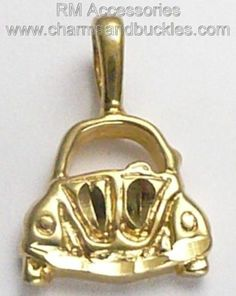 Volkswagen Slug Bug Beetle VW Pendant for Necklace or Charm Bracelet Gold Plated