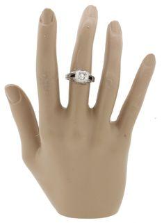 1930s Antique Art Deco 18k Solid White Gold 0.3ctw Sapphire 0.45ct Diamond Ring