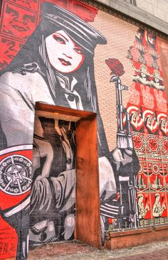Shepard Fairey mural outside the CAC in Cincinnati