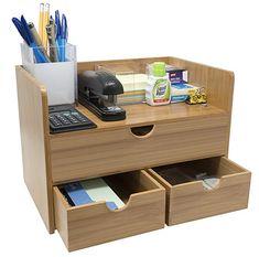 Sorbus Bamboo Shelf Organizer for Desk with Drawers Mini Desk Storage Office Desk Organization, Desk Organizer Set, Desktop Organization, Kitchen Shelf Organizer, Online Organizer, Wooden Desk Organizer, Office Table, Organization Ideas, Desk Shelves