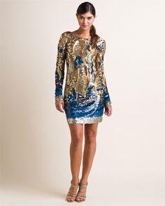 Emilio Pucci Gold & Blue Sequined Dress