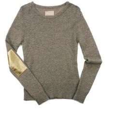 Cashmere with gold leather elbow patch. Love