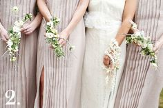 The handwork design of these bouquets amazes me. The bride was no stranger to couture so her flowers needed to reflect her high-fashion sensibility. To complement her bridesmaids' J. Mendel gowns, we painstakingly cut manzanita branches to fit the wrist and silver-leafed them before attaching stephanotis, tuberose blossom, and Brunea Berry with sterling silver wire. Although she wasn't Catholic, the bride loved the idea of carrying a rosary so we threaded gardenia, majolica roses, and silver…