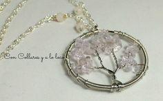 Amuleto Arbol de la vida en cuarzo rosa por ConCollaresyaloloco