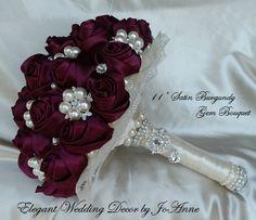 SATIN PEARL Brooch Bouquet  Elegant 10 by Elegantweddingdecor, $298.00