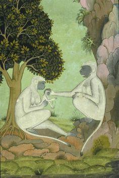 indian miniature monkey painting - Google zoeken