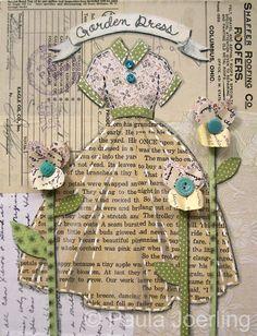 Garden Dress Mixed Media CollageOriginal 85 by PaulaJoerlingStudio, $78.00
