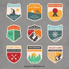 Emblemas de aventura no estilo do vintage Vetor grátis