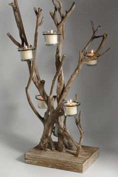 Great idea for a driftwood tea light holder.