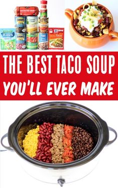 Crockpot Taco Soup Recipes - Easy Beef Slow Cooker Soup! Kick boring dinners to the curb and buckle your seat belts for some crave worthy Slow Cooker Taco Soup! You won't believe how EASY it is to make, too! Go grab the recipe and give it a try this week! Delicious Crockpot Recipes, Easy Soup Recipes, Easy Dinner Recipes, Fall Recipes, Beef Recipes, Dog Food Recipes, Dinner Ideas, Crock Pot Tacos, Slow Cooker Tacos