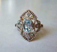 Incredible Aquamarine and Opal Ring in Sterling by LaPlumeNoir