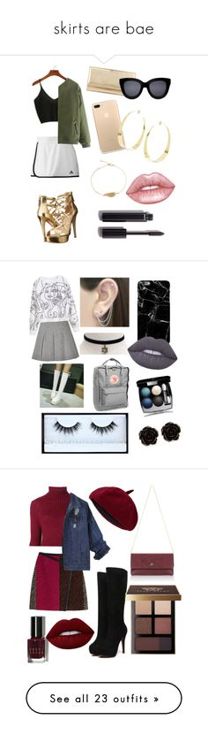 """""""skirts are bae"""" by cottoncandysyrup ❤ liked on Polyvore featuring WithChic, adidas, GUESS, Jimmy Choo, Lana, Lime Crime, Chanel, T By Alexander Wang, JY Shoes and Fjällräven"""