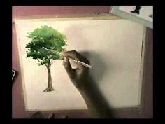 How to Basic Watercolor Painting : Tree - YouTube