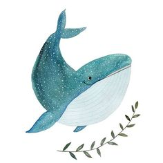 Happy whale Art Print by Tina van Dijk Art - X-Small Whale Illustration, Illustration Noel, Watercolor Illustration, Watercolor Paintings, Illustrations, Whale Drawing, Illustration Inspiration, Posca Art, Whale Art