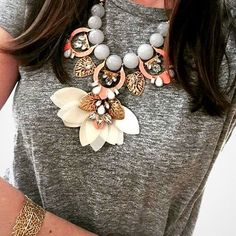 Wear the Riviera Statement Necklace over a solid colored top for a subtle statement. #stelladotstyle via @pmarvez Bonus: This statement has removable pieces that will change your look!