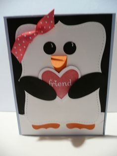 penguin card @Desiree Nechacov Wright Pliler for Meadow's next birthday!