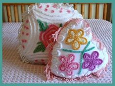 Flowered Vintage Chenille Pillows by frietas