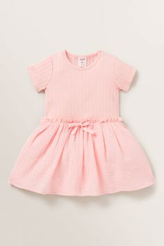 Rib Splice Dress DUSTY ROSE Dusty Rose Dress, Baby Shoe Sizes, Hat Size Chart, Clothing Size Chart, Cheese Cloth, Hat Sizes, Designer Dresses, Rompers, Woven Cotton