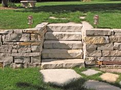 Cool built in steps and retaining wall.