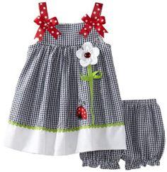 Amazon.com: Rare Editions Baby-Girls Infant Seersucker Dress, Navy/White, 24 Months: Clothing