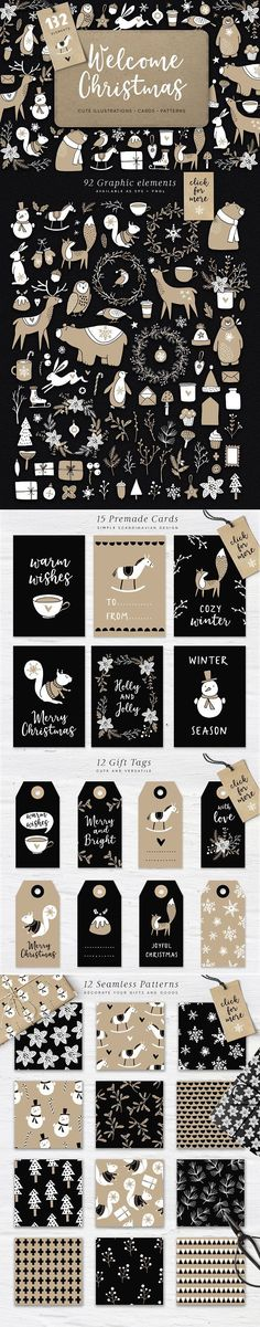 Welcome Christmas set, 132 elements by Tabita's shop Christmas is coming! I would like to introduce you Welcome Christmas - a huge graphic pack in simple yet cute Scandinavian design and black, white and brown color palette.With this big Welcome Christmas graphic set and its cute bears, bunnies, birds, deers, winter flowers, decoration and other clip-arts, tags and patterns you can create your greeting cards, winter wedding invitations or decorate your gifts, crafts or website in a minute…