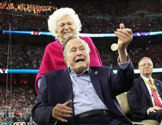 Former U.S. President George H.W. Bush participates in the coin toss ahead of the start of Super Bowl LI between the New England Patriots and the Atlanta Falcons as former first lady Barbara Bush looks on in Houston , Texas, U.S., February 5, 2017.  REUTERS/Adrees Latif   TPX IMAGES OF THE DAY via @AOL_Lifestyle Read more: https://www.aol.com/article/entertainment/2017/02/05/super-bowl-51-commercials/21707556/?a_dgi=aolshare_pinterest#fullscreen