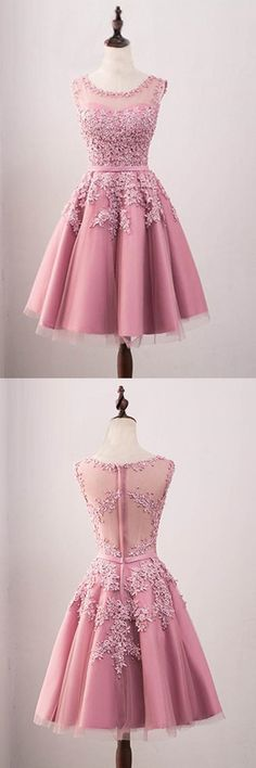 A-Line Crew Knee-Length Tulle Homecoming Dress With Appliques Beading