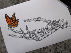 Butterfly On Skeleton Hand Print - A4 by LHartArt on Etsy