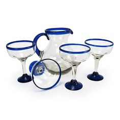Cozumel Margarita Set $74, made from thick, durable hand-blown recycled glass