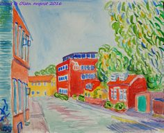 Old Houses of Valby. watercolor 2016. Claus Ib Olsen.