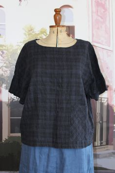 Check Fabric, Linen Fabric, Scoop Neck, Short Sleeves, Tunic Tops, Pullover, Shoulder, Tees, Blue Plaid