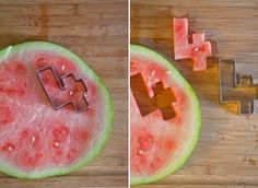 Debut night? Watermelon cutouts for the Fourth of July. This would be a good idea for kid birthdays too. Perfect for serving fruit at any party with different shaped cookie cutters, really. Healthy snacks to match any theme!