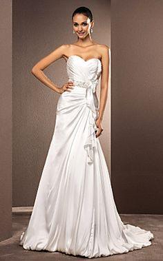 A-Line Novia tribunal Satén vestido de novia – EUR € 164.99