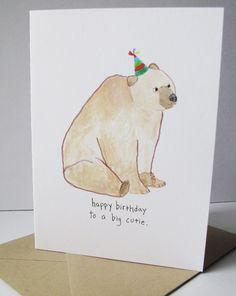 Happy Birthday Card.  Birthday Bear.  Print of my Original Watercolor Painting.  Birthday Card for Men.. $5.25, via Etsy.