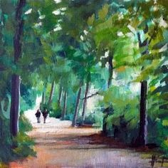 Ideas for green artwork for main bath... Out for a Walk painting by Liza Hurst