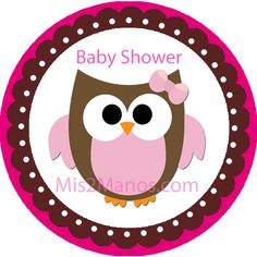Baby Owl Baby Shower Sticker Labels 2 inch