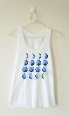Blue Moon phase shirt moon tshirt moon night funny tee shirt gift teen shirt women shirt racerback women tank top women tunic top women tee