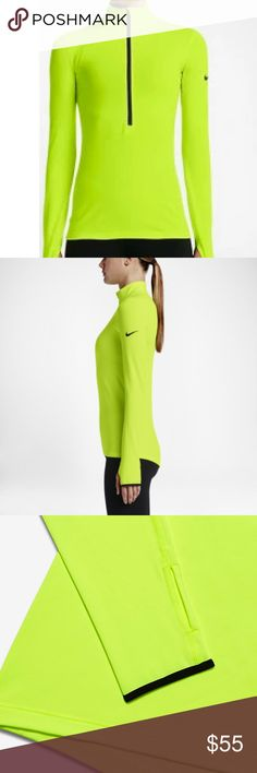 [nike] NWT hyperwarm half-zip NWT Nike Pro Hyperwarm half-zip, size XS. Half-zip, thumbholes, fleece-lined. Perfect slimming top for a cold weather workout! Nike Tops