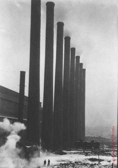 Otis Street Smoke Stacks by Margaret Bourke-White