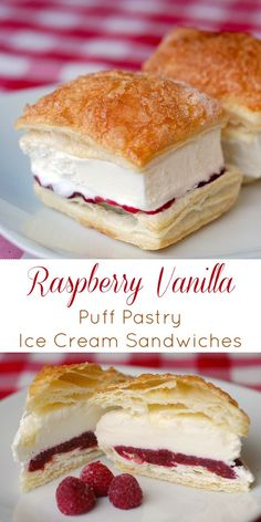 Raspberry Vanilla Puff Pastry Ice Cream Sandwiches - Rock Recipes - - Raspberry Vanilla Puff Pastry Ice Cream Sandwiches - with basically only 4 ingredients and using frozen puff pastry, these make ahead little desserts are ideal for parties. Ice Cream Desserts, Köstliche Desserts, Best Dessert Recipes, Frozen Desserts, Ice Cream Recipes, Frozen Treats, Sweet Recipes, Delicious Desserts, Dessert Party