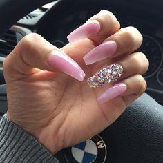 Baby Pink + Rhinestone Long Coffin Nails. #nail #nailart