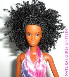 It's about damn time. Love this natural hair Black Barbie ! Barbie I, Black Barbie, Barbie World, Barbie And Ken, Barbie Summer, Pretty Dolls, Beautiful Dolls, Natural Hair Care, Natural Hair Styles