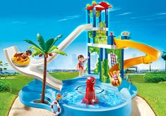 One Momma Saving Money: NEW PLAYMOBIL Water Park with Slides Playset #Giveaway