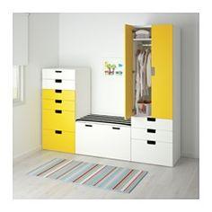 IKEA - СТУВА, Комбинация д/хранения, белый/розовый, , Достаточная глубина для стандартных плечиков.Дверцы со встроенным стопором закрываются плавно и бесшумно.Регулируемые ножки прилагаются, обеспечивают устойчивость даже на неровном полу.Дверцы и фронтальные панели ящиков со скругленными углами и прорезными ручками с гладкой поверхностью.