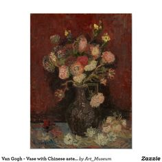 Vase with Chinese Asters and Gladioli by Vincent van Gogh Art Print by artculture Abstract Canvas Wall Art, Canvas Prints, Art Prints, Poster Pictures, Print Pictures, Van Gogh Prints, Gladioli, Van Gogh Art, Van Gogh Paintings
