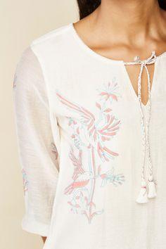 Block Printed Tassel Tie-Up Shift Dress | Grassroot By Anita Dongre